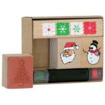 Weihnachten 4-teilig Motivstempel aus Holz inkl. Stempelkissen