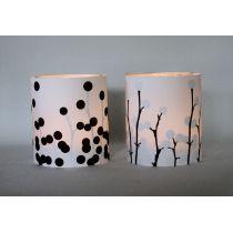 Licht und Schatten - Lichthüllen in schwarz und weiß für Teelichter