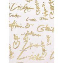 CREApop® Deko-Stoff 29 cm x 15 m Glaube-Liebe-Hoffnung gold