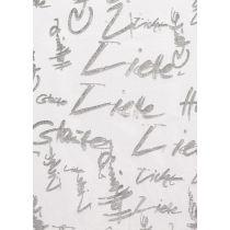 CREApop® Deko-Stoff 29 cm x 15 m Glaube-Liebe-Hoffnung silber