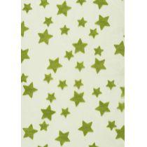 CREApop® Deko-Stoff 29 cm x 15 m Sterne beflockt grün