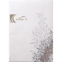 Designpapier A4 Floral: Silbriges Blattwerk