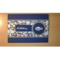 Dunkelblaue Einladungskarte mit Kieselsteinpapier DIN Lang oder B6 auch als Menükarte, Tischkärtchen, Give awa