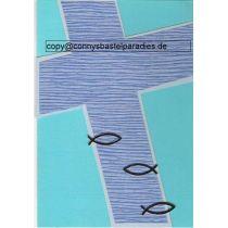 Handgearbeitete Einladungskarte C6 Fische auf Kreuz incl. Kuvert