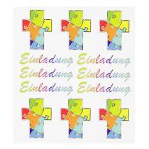 Hobby Design Sticker 6x Kreuze und 6x Einladung im Regenbogendesign