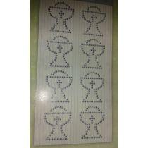 Kelch Design Sticker aus selbstklebenden Schmucksteinen transparent