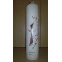 Taufkerze - dunkelrot marmoriertes Kreuz