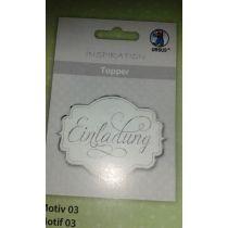 Topper weiß/silber 8 St. verschiedene Schriftaufdrucke