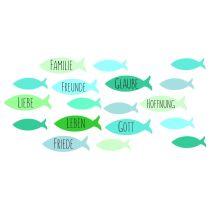 Wachsdekor, Fische / Familie,Freunde 80 x 60 mm, 1 Stk., blau