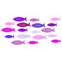 Wachsdekor, Fische / Familie,Freunde 80 x 60 mm, 1 Stk., pink / lila / flieder