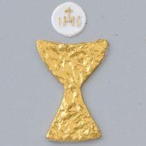 Wachsdekor, Kelch + Hostie, 40 x 30 mm, ø 15 mm, 2 Stk. / 4 - teilig, weiß gold