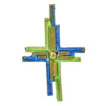 Wachsdekor, Kreuz bemalt grün, blau, gold, 110 x 63 mm, 1 Stk., blau grün gold