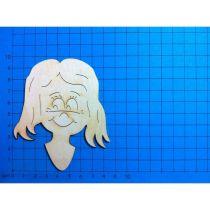 Holz Kleinteile Mädchenkopf mit langen Haaren  60mm oder 100 mm
