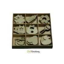 Holzornament Box Baby 45 pcs - box 10,5 x 10,5 cm