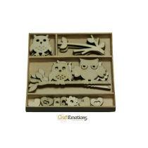 Holzornament Box Eulen 30 pcs - box 10,5 x 10,5 cm