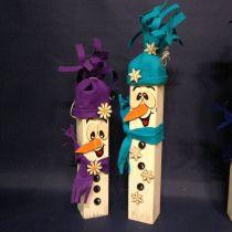 Schneemann-Set für Holzplocken (Filz für Mütze und Schal, 2 Augen, Karotte und 3 Knöpfe)