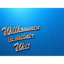 """Schriftzug Schreibschrift """"Willkommen in meiner Welt"""" ca. 160 mm und 190mm"""