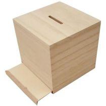 Sparschwein Holz quadratisch 8,7cm x 8,6cm x 8,4cm
