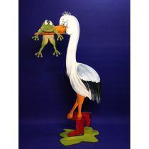 Storch mit Frosch ca 71cm, Bausatz zum Hinstellen