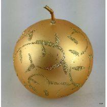4 Kugelkerzen 5,9 cm Gold mit Verzierung Weihnachten