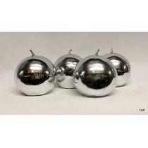 4er Set Kerzen Kugelkerzen K262S 6,2 cm Durchmesser Farbe Silber