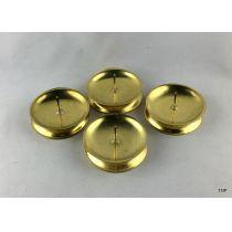 4er Set Kerzenständer Kerzenhalter Rund Goldfarbig
