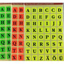 Buchstabenetiketten 3 Motive A-Z Schriftgröße 8 mm Klebesticker