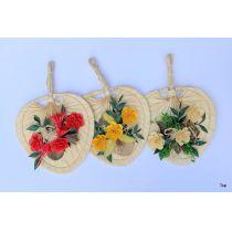Fächer aus Bambus handgefochten 15x15 cm Floristik mit Gestecke