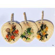 Fächer aus Bambus handgefochten 20x20 cm Floristik mit Gestecke
