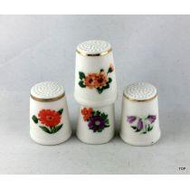 Fingerhut Keramik Fingerhut 2er Set mit Blumenmotiv und Goldrand