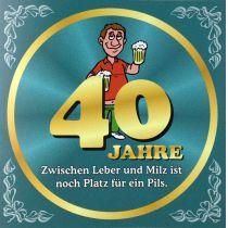 Flaschenetikett Bier 40.Geburtstag Jubiläum Geschenkidee Präsent