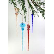 Glastropfen  zum Hängen gedreht am Kopfteil Herz 4 Farben