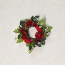Hochzeit großer Kerzenring Rosen Herz Textilblumen 12 cm