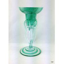 Kerzenhalter Glas grün-marmoriert auf drei gedrehten Glasstielen