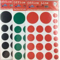 Markierungspunkte Selbstklebeetiketten farbige Ø 30 mm, Ø 18 mm