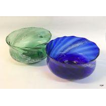 Schale Glasschale Farbe Blau und Grün leicht weiß geflammt