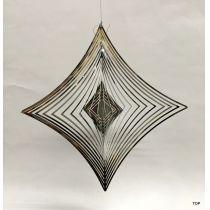 Spirale Edelstahl Quadratform 21 cm Hochglanz poliert Windspiel