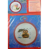 Sticksatz Stickset mit Rahmen Stickbild Biene mit Nadel, Wolle