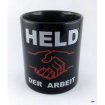 Tasse Held der Arbeit Kaffeetasse schwarz Porzellan Deko