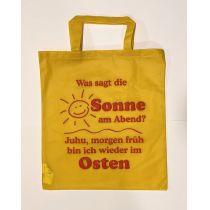 Tragetasche Gelb mit Spruch Sonne Osten Sachsen Geschenkidee