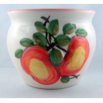 Übertopf groß mit früchtedesign Motiven glasiert bauchige Form