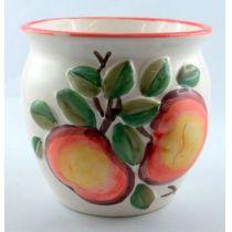 Übertopf klein mit früchtedesign Motiven Keramik bauchige Form