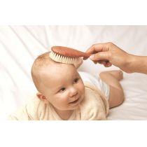 Babybürste mit weichen Ziegenhaarborsten