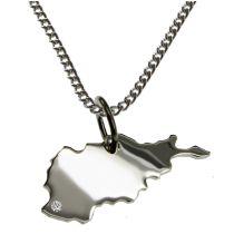 50cm Halskette + Afghanistan Anhänger mit einem Brillant 0,015ct an Ihrem Wunschort in 925 Silber
