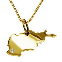 50cm Halskette + Afghanistan Anhänger mit einem Brillant 0,015ct an Ihrem Wunschort in massiv 585 Gelbgold