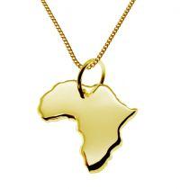 50cm Halskette + Afrika Anhänger in 585 Gelbgold