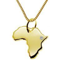 50cm Halskette + Afrika Anhänger mit einem Brillant 0,015ct an Ihrem Wunschort in massiv 585 Gelbgold