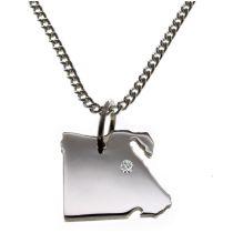 50cm Halskette + Ägypten Anhänger mit einem Brillant 0,015ct an Ihrem Wunschort in 925 Silber