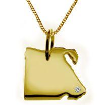 50cm Halskette + Ägypten Anhänger mit einem Brillant 0,015ct an Ihrem Wunschort in massiv 585 Gelbgold