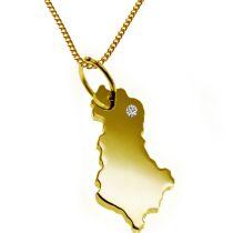 50cm Halskette + Albanien Anhänger mit einem Brillant 0,015ct an Ihrem Wunschort in massiv 585 Gelbgold